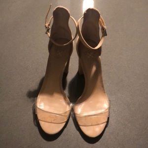 Vince Camuto nude/clear heels, 6.5